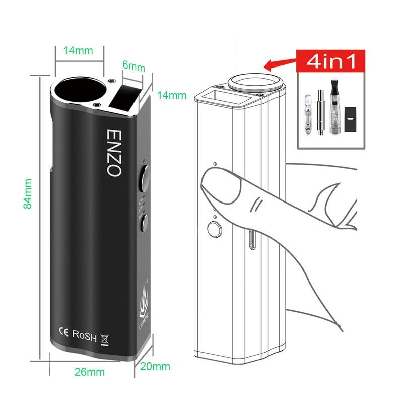 E Cig New CBD Vape Cartridge Battery LVSMOKE 4 In 1 ENZO Vape Vapor Kit 450mah Vape Pen Battery Box Mod Fit For Pod