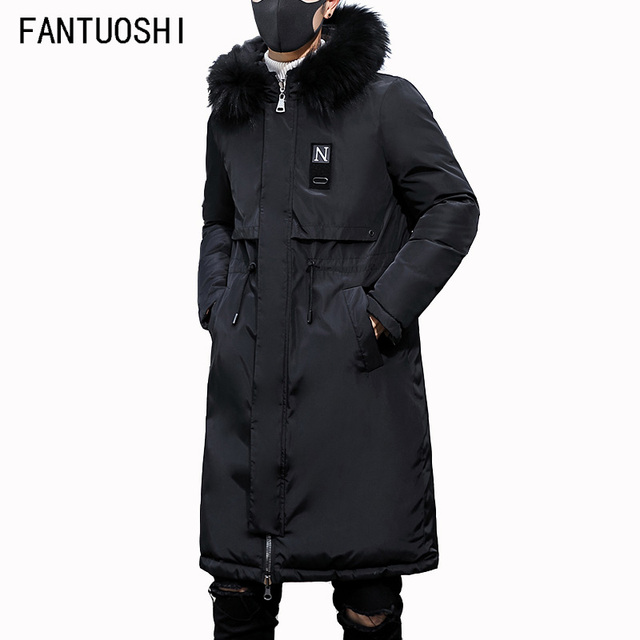 Flash Sale 2018 Top Quality Warm Hooded Men's Warm Winter Jacket Windproof Casual Outerwear Thick Medium Long Coat Men Parka black XXXL