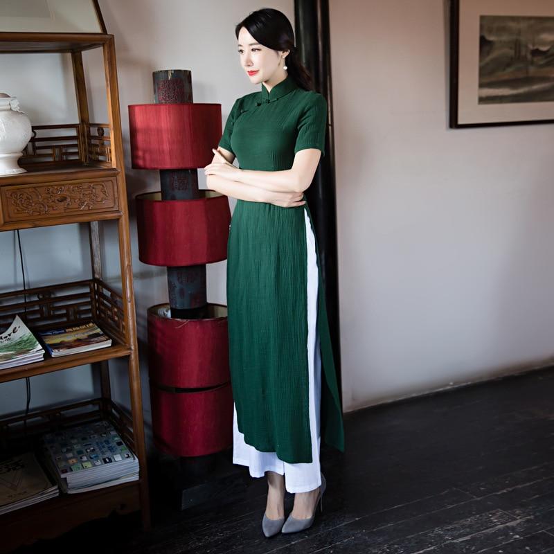 Chinoise Pièces Lin Aodai Cheongsam Traditionnelle Dai Coton 2 pink Vert Robes Élégant 2018 Vietnam Costume blue Robe green Burgundy Qipao Ao fZn7AWOq