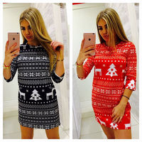 Printed Merry Christmas Tree Deer Moose Women Dress Sexy Bodycon Slim Female Party Holiday Vestido Mini