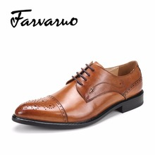 Farvarwo Branded Men's Casual Patent Full Grain Leather Oxfords Shoes Fulll Brogues Business Shoes Lace Up Pointed Toe Wedding D