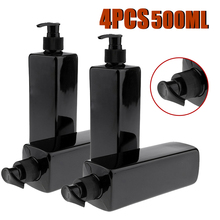 4pcs 500mL Refillable Empty Bottles For Makeup Lotion Pump Bottles Shampoo Container Dispenser Black