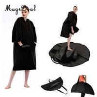 Surf Wetsuit Swim Swimsuit Changing Robe Beach Hooded Poncho Bath Towel Bathrobe + Water Sports Change Mat Waterproof Carry Bag