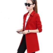 Plus Size 4XL Spring Women Blazers Autumn Medium-Long Coats Office Lady Notched