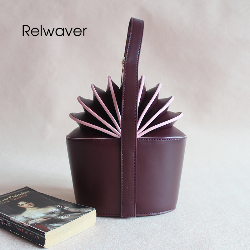 Relwaver accordion shape bucket bag tote bag fashion cowhide split leather stylish trend hard purplised red women's handbags