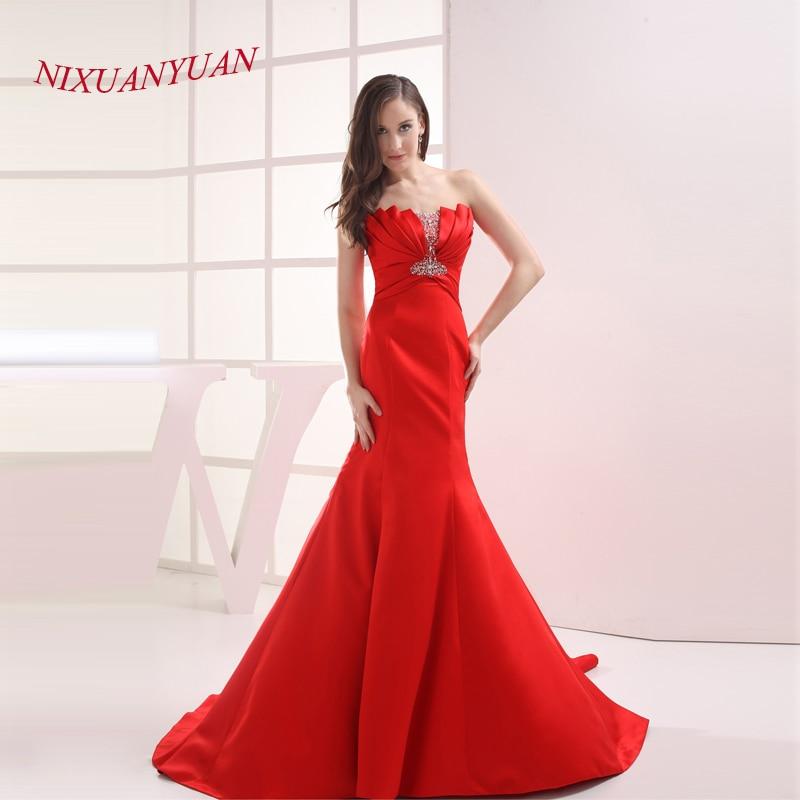 NIXUANYUAN 2020 Strapless Red Satin Bridal Wedding Gown Pleat Mermaid Wedding Dress 2020 Beaded vestido De noiva