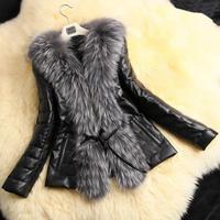 Tops 2018 Winter Women Fur Jackets Coat PU Leather Stitching Faux Fox Fur Coats Plus Size Female Outerwear Womens Fur Outwear