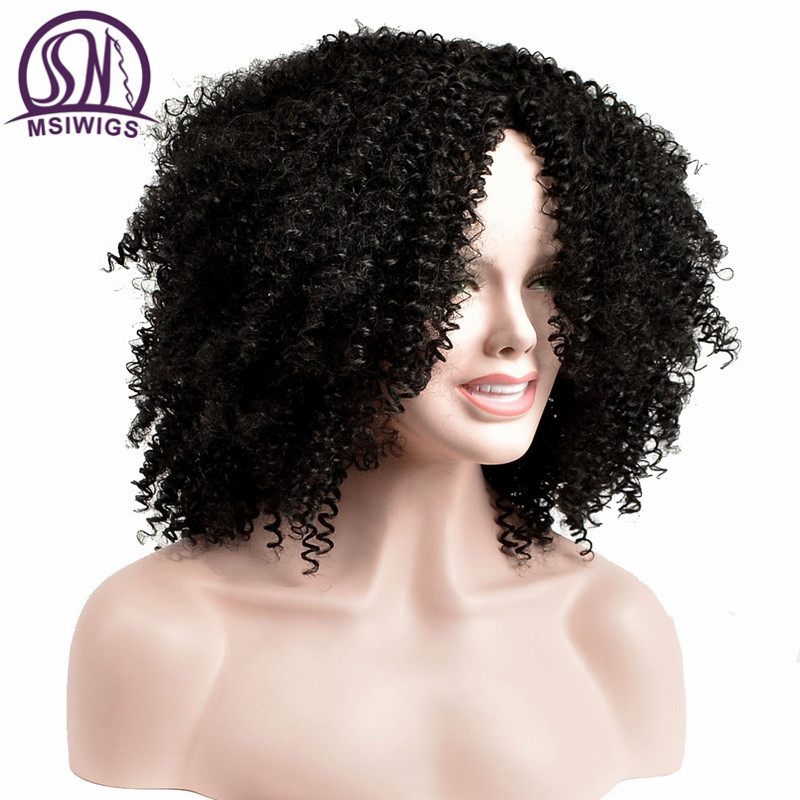 MSIWIGS Neat Curly Synthetic Wigs For Women Black Short Hair Wig Middle Part Natural Afro Wigs Heat Resistant Fiber