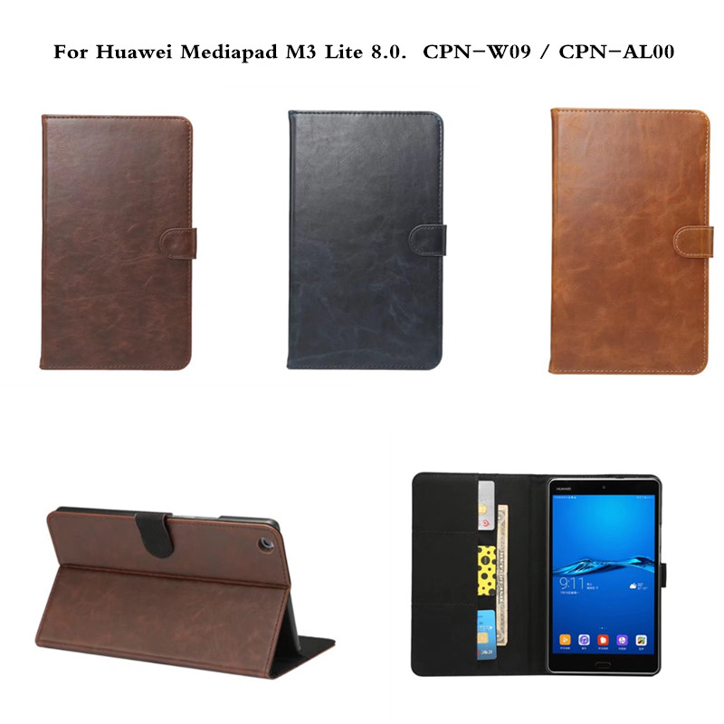 Case For Huawei Mediapad M3 Lite 8.0 CPN-W09 CPN-AL00 8 inch tablet Luxury Folio Stand Flip PU Leather Cover With Stand Function for 2017 huawei mediapad m3 youth lite 8 cpn w09 cpn al00 8 tablet pu leather cover case free stylus free film