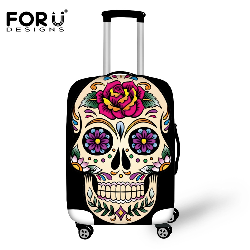 FORUDESIGNS Luggage Cover 3D Vintage Sugar Skull Roses Travel Accessories For 18''-30'' Travel Case Suitcase Protective Cover