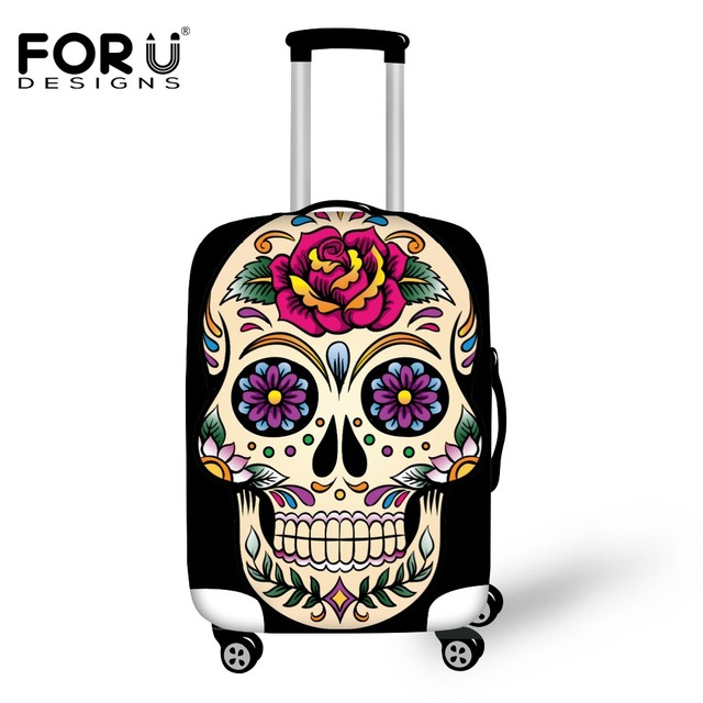 forudesigns luggage cover 3d vintage sugar skull roses travel accessories for 18 30