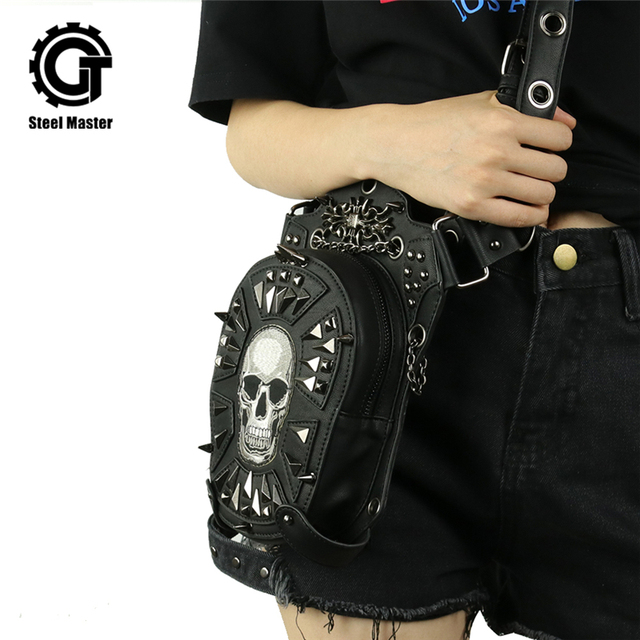 Gothic Skull Bag Men Women Uni Packs Crossbody Fashion Retro Rock Motorcycle Leg Leather
