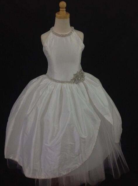 Vintage White/ivory halter flower girl dress ball gown junior princess holy the first communion gown with crystal and rhinestoneVintage White/ivory halter flower girl dress ball gown junior princess holy the first communion gown with crystal and rhinestone
