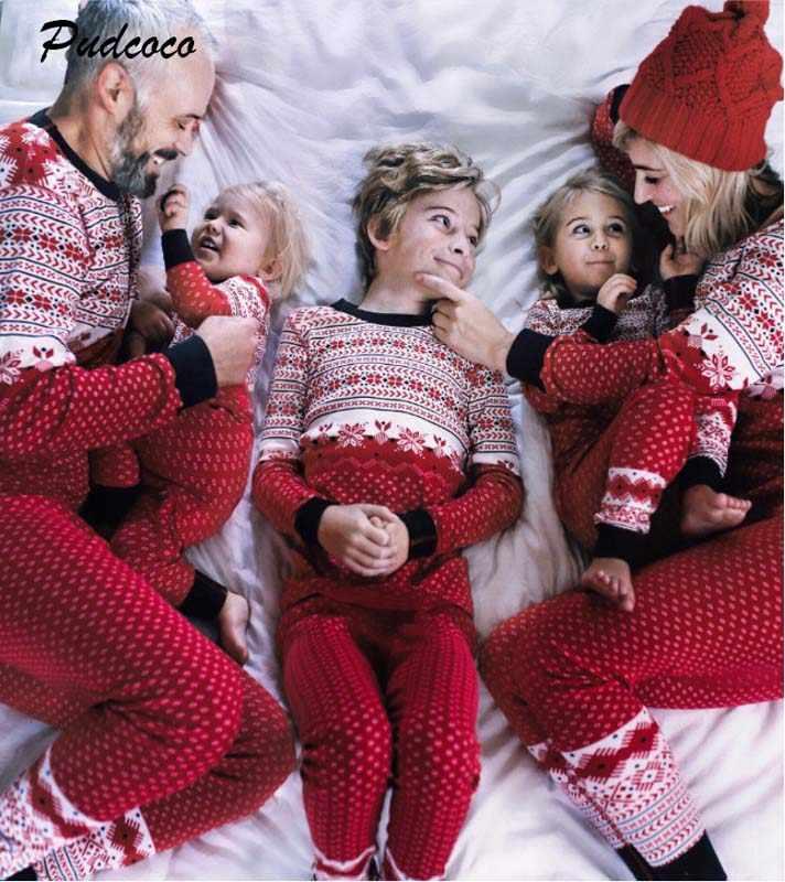 8c8d40b243 Pudcoco 2018 Family Matching Christmas Print Pajamas Set Kid Adult Soft  Cotton Sleepwear Nightwear Pyjamas Xmas