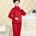 Two Piece Set Women Fashion Spring And Autumn Middle-aged Ladies Casual Lapel Zipper Coat And Elastic Waist Pants J378