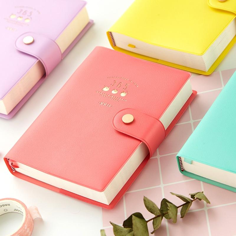 2020 nueva llegada cuaderno Kawaii lindo 365 diario planificador organizador de libreta para notas papel cuaderno A6 Agendas papelería coreana