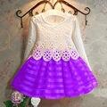 3-8A Meninas Da Criança Do Bebê Crianças Tutu Rendas de Croché Vestido de Manga Comprida Vestido de Princesa Meninas Roupas 3 CORES