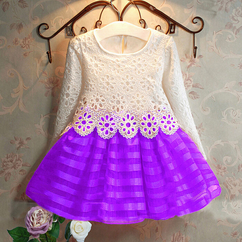3-8Y Toddler Baby Girls Kids Tutu Crochet Lace Dress Long Sleeve Princess Dress Girls Clothes 3COLORS