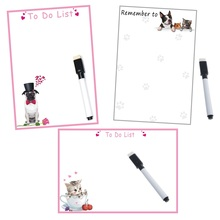 Dry wipe Magnetic Whiteboard Remind Message Board Memo Pad Fridge Magnets Sticker Cartoon Dog Cat Sheet Planner Writing Note