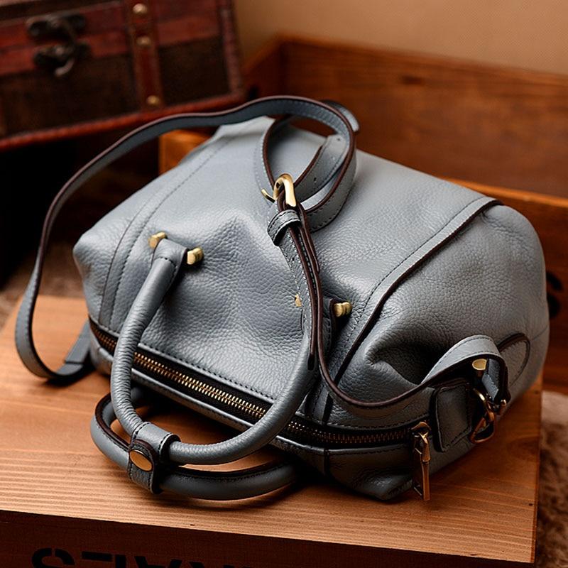 Mode einfachen boston tasche aus echtem leder designer handtaschen hochwertige crossbody taschen für frauen schulter tasche sac ein haupt-in Schultertaschen aus Gepäck & Taschen bei  Gruppe 3