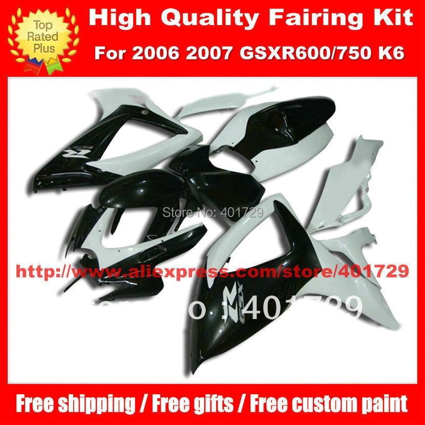 White black body work for SUZUKI GSX R600 R750 2006 2007 GSXR600 GSXR750 GSXR 600 750 06 07 K6 high grade fairing set free gifts
