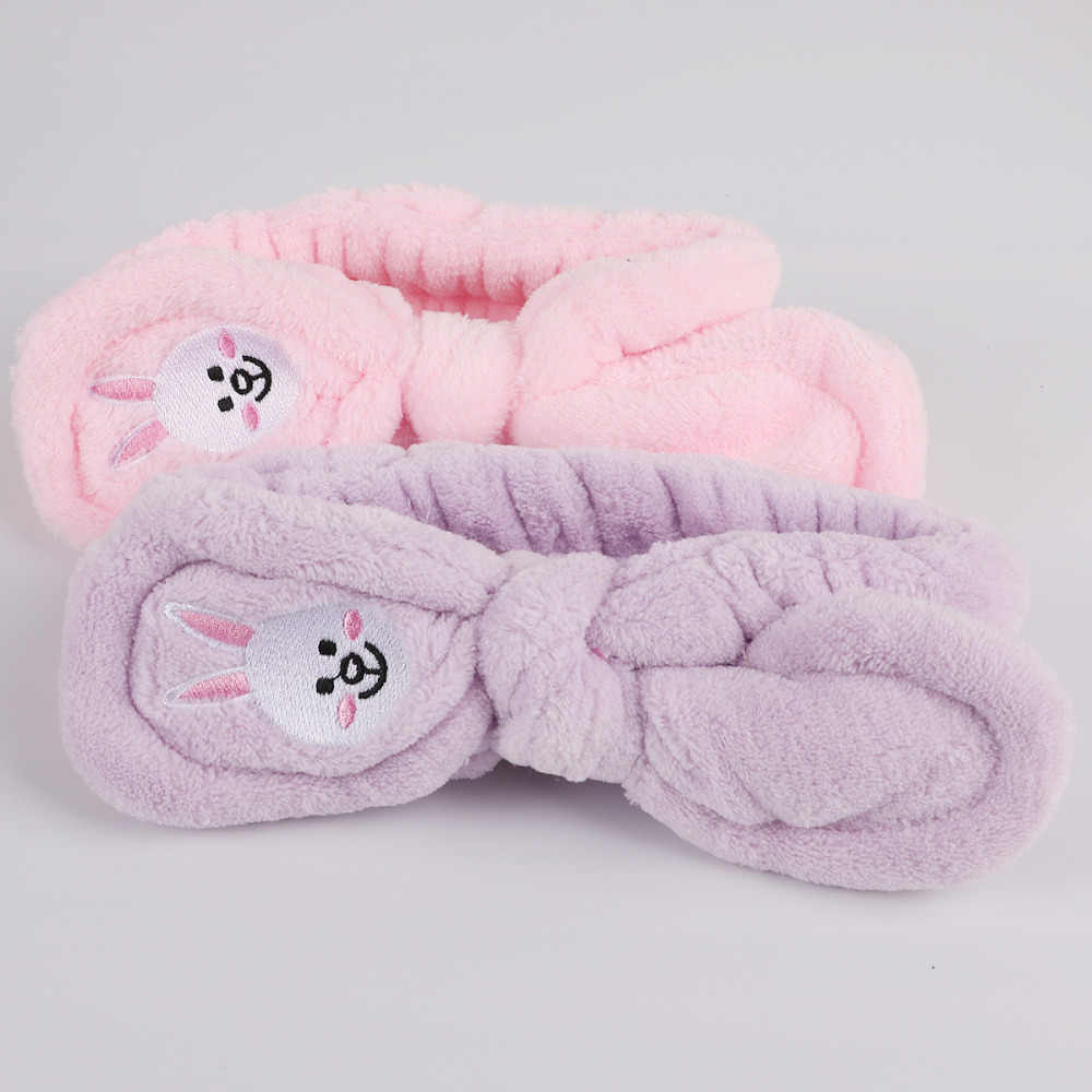 ... Headwear Big Rabbit Ear Soft Towel Hair Band Wrap Headband For Bath Spa  Make Up Women ... 24b506101865
