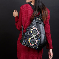 XIYUAN BRAND kad n flower embroidery backpack ethnic Lady New Embroidery Unique Nice School Bag Travel Rucksack Shoulder bags
