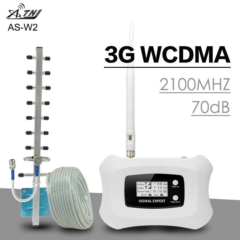 ATNJ 3G WCDMA 2100 Cell Phone Signal Amplifier Band 1 UMTS 3G WCDMA Signal Repeater 70dB Gain LCD Display AGC ALC 3G Booster Set