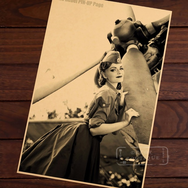 The Rebel Airplane Pin Up Girl Vintage Retro Canvas Painting Poster ...