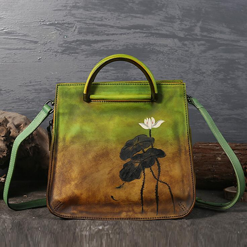 Women Vintage Genuine Leather Bags Printing Flowers Handbags Ladies National Style Famous Women Bags Tote Brand Shoulde Bag laptop fan store vpcw111 vpcw115 pcg 4v1m vpcw notebook fan