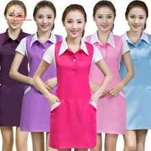 Beauty salon beautician work clothes Korean version of fashion manicure mother and baby shop attendants antifouling apron
