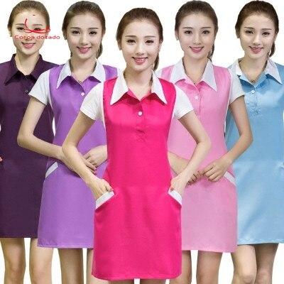 Intellective Schoonheidssalon Schoonheidsspecialiste Werkkleding Koreaanse Versie Van Fashion Manicure Moeder En Baby Winkel Bedienden Antifouling Schort Vouw-Weerstand
