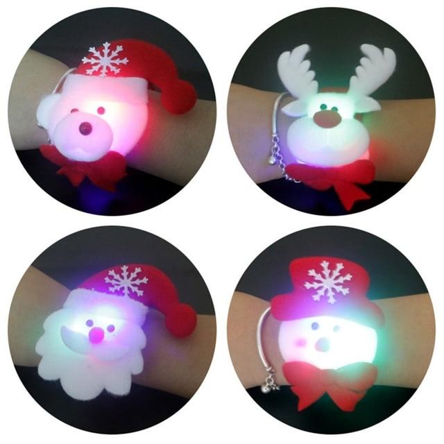 Christmas Patting Circle Bracelet Watch Xmas Children Gift Santa Claus Snowman Deer New Year Party Toy Wrist Decoration 2