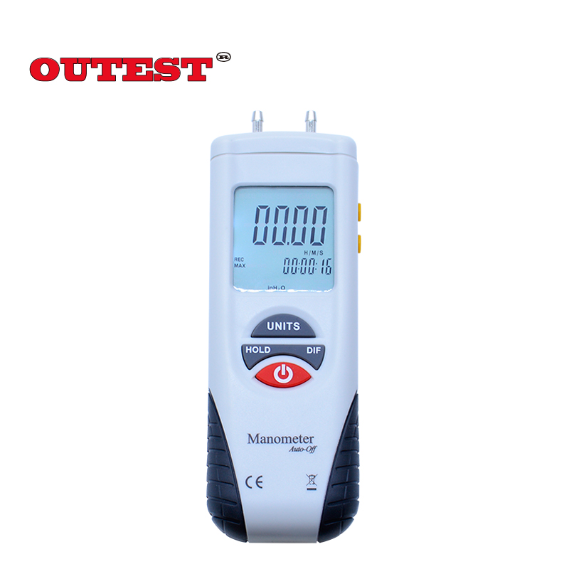 HT-1890 Digital display Manometer gauge/Digital Manometer Air Pressure Meter Gauge Kit Micro-manometer digital indoor air quality carbon dioxide meter temperature rh humidity twa stel display 99 points made in taiwan co2 monitor