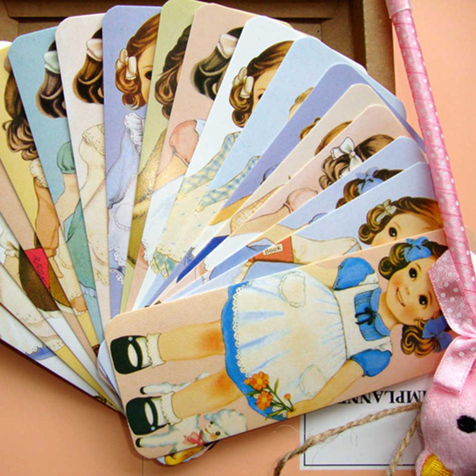 30 шт./партия, новый набор закладок для девочек серии кукольных матов, упаковка из крафт-бумаги