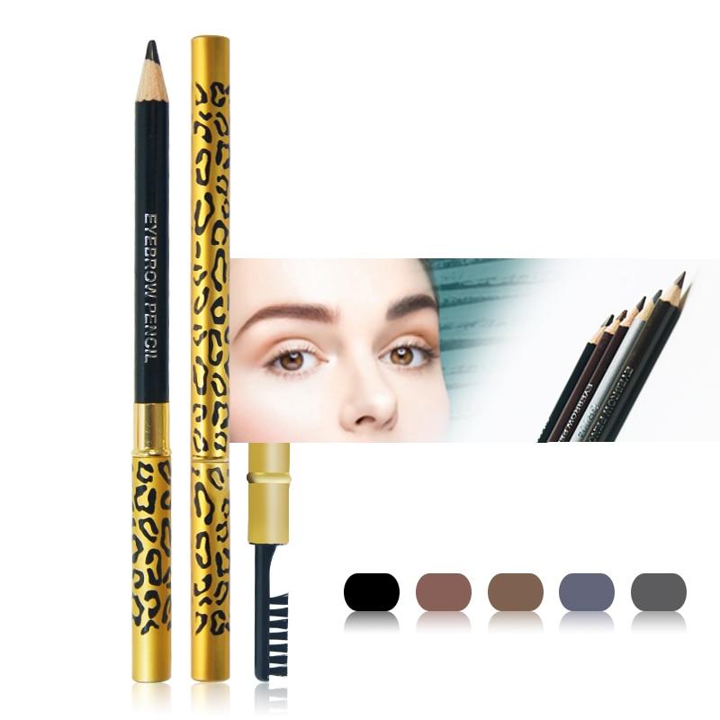 Novas Mulheres Waterproof Lápis de Sobrancelhas Com Escova Make Up Leopard maquiagem 5 Cores Sombra Para Sobrancelha Barato