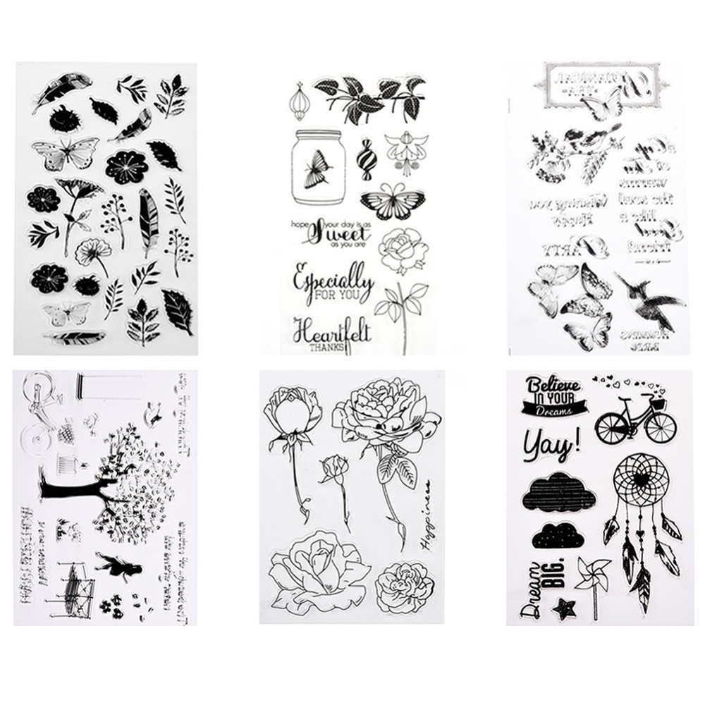 Flower Butterfly Transparent Clear Rubber Stamp DIY Silicone Seals Scrapbooking/Photo album Decorative Stamp Sheet lovely animals and ballon design transparent clear silicone stamp for diy scrapbooking photo album clear stamp cl 278