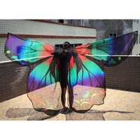 Transparent Wings Women Dancewear Stage Props Polyester Cape Cloak Dance Fairy Belly Dance Wing Butterfly Wings with Sticks