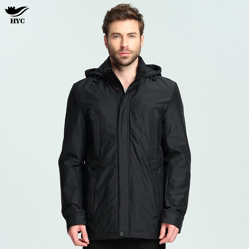 HAI YU CHENG Jackets Men Long Thin Parka Coat Male Waterproof Mens Windbreaker Jacket Hooded Windproof Parkas Basic Solid Jacket