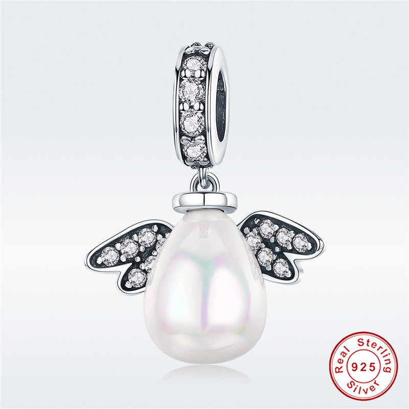 5a9da0992 fit Pandora Bracelet Original 925 Sterling Silver Angel Egg Charms Micro  White CZ Pearl Insect-