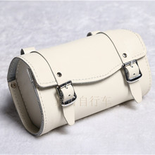 E0990 100% head layer cowhide Fixed gear bike Saddle bag Bicycle Hang back bag Handmade tool bag hot sale