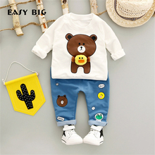 EASY BIG 2017 Spring Autumn Unisex Children's Sets Cottons Boys Girls Cute Pants+T-shirts Kids Top Clothes Sets CC0134