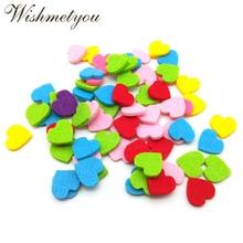 WISHMETYOU 50pcs Randomly Color Heart Felt  For Handmade Clothes Free Cutting Felts Decor Scrapbooking Crafts Diy Kids Home