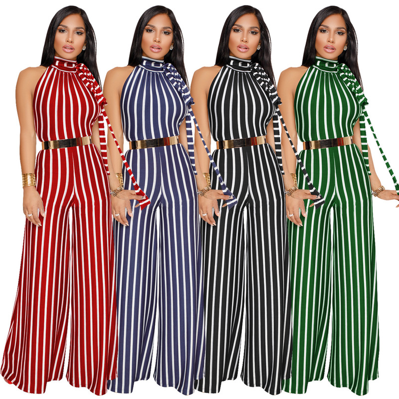 Women S Speed To Sell Through Selling Sexy Stripe With Bare Back Wide Legged Jumpsuits Spot