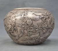 9'' Elaborate Chinese Copper Jar Bowl Carved with Two Dragon Play Ball Sunrise Auspicious Statue