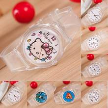 Cute Lovely Cartoon Hello Kitty Superman Clear Plastic Fashion Wristwatches Watch for Women Girls Female Student Children OP001