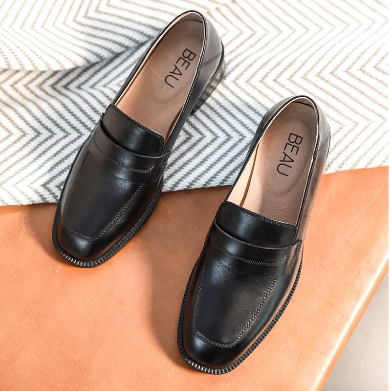 BeauToday Loafers ผู้หญิงยี่ห้อ Cow หนังสแควร์ Toe Slip   On แฟลตสไตล์ Lady รองเท้าหนังวัวแท้ Handmade 21608-ใน รองเท้าส้นเตี้ยสตรี จาก รองเท้า บน   2