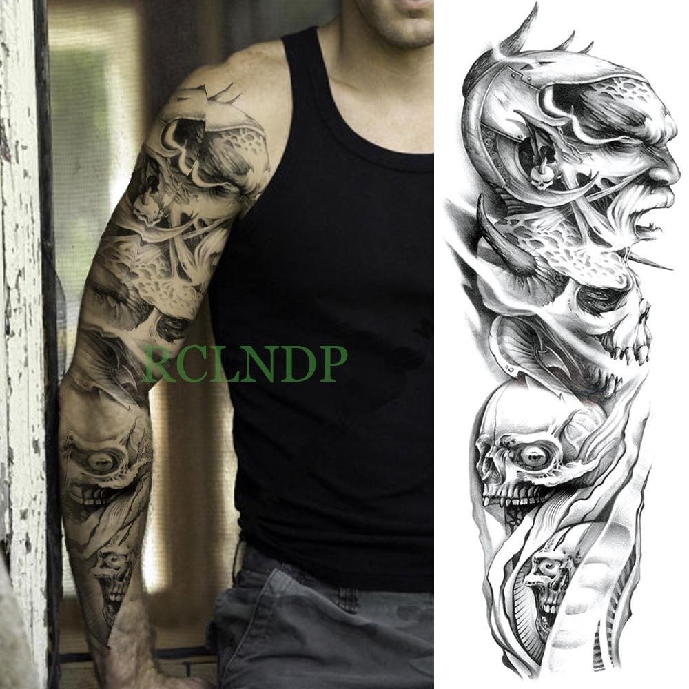 Temporary Tattoo Sticker Large Size Body Art Sketch Flower: Waterproof Temporary Tattoo Sticker Skull Head Full Arm