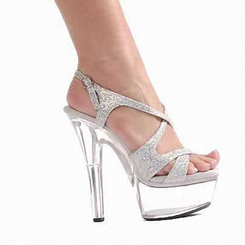 15cm colorful sexy high heeled shoes crystal sandals shoes 6 inch stiletto  high heels Clear Platforms Silver Glitter sexy shoes-in High Heels from  Shoes on ... 9aa4b7f70533