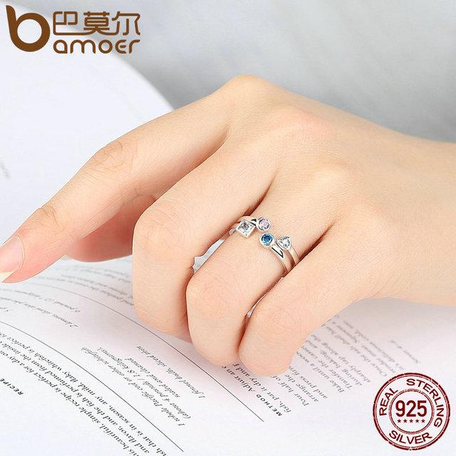 Sterling Silver Finger Ring Set & Clear CZ Vintage Ring